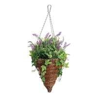 Gardman 12in Artificial Lavender & Trailing Ivy Hanging Cone (02847)