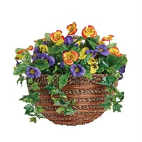 Gardman 14in Artificial Pansy Wall Basket (02849)