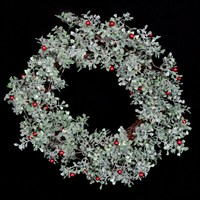 Gisela Graham Christmas Frosted Leaf Mini Red Berry Twig Wreath - 45Cm Wreath (40195)