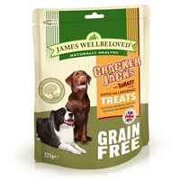 James Wellbeloved Crackerjacks Dog Treats - Grain Free Turkey 225G (7996001)