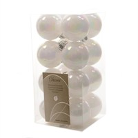Kaemingk Box Of 16 White & Iris 4cm Shatter Proof Christmas Baubles (021779)