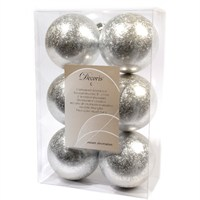 Kaemingk Box Of 6 Silver Ice Lacquer 8cm Shatter Proof Christmas Baubles (022122)