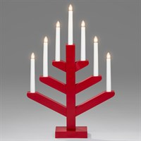 Konstsmide Candlestick in Red with 7 LED Candle Bulbs (3589-510EE)