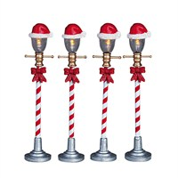 Lemax Christmas Village - Santa Hat Street Lamp Accessories - Set of 4 - Battery Operated (64472)
