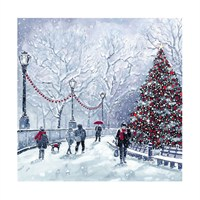 Ling Design Charity Christmas Cards 6 Pack - Christmas Tree in Park with Glitter (X12247RCJP)