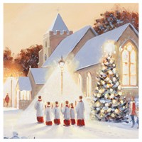 Ling Design Charity Christmas Cards 6 Pack - Church Choir in Snow with Glitter (X12264RCJP)