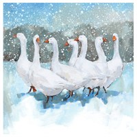Ling Design Charity Christmas Cards 6 Pack - Geese in Snow with Glitter (X12260RCJP)