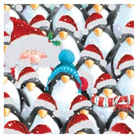 Ling Design Charity Christmas Cards 6 Pack - Penguins & Santa with Glitter (X12259RCJP)