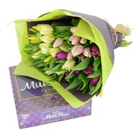 Mother's Day Flowers Wrap of Tulips & Milk Tray Bundle