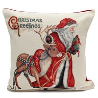 Peggy Wilkins Rudolph & Santa Complete Christmas Cushion - 45 x 45cm