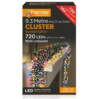 Premier 720 LED Multi Action Supabrights Cluster Lights - Multi Coloured (LV082120M) Christmas Lights