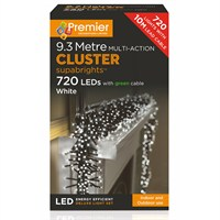 Premier 720 LED Multi Action Supabrights Cluster Lights - White (LV082120W) Christmas Lights