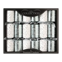 Tom Smith 6 x 14in Silver & White Premium Christmas Crackers (XAFCC1606)