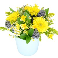 Yellow & Blue Mother's Day Flowers Ceramic Pot
