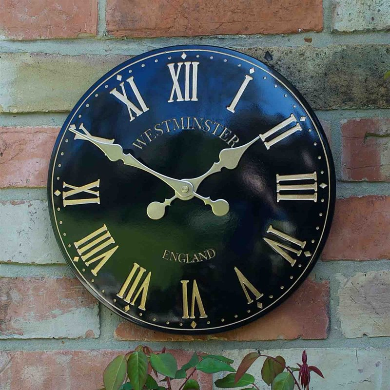 outside in westminster tower black 15in wall clock 5065044