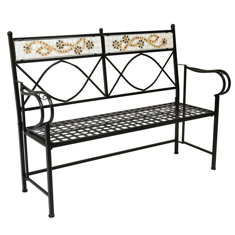 Charles bentley garden 2 3 seat terracotta flower mosaic for Outdoor furniture direct