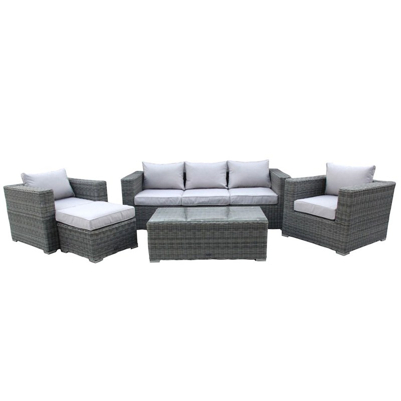 Charles bentley 5pc rattan outdoor lounge set in light for Outdoor furniture direct