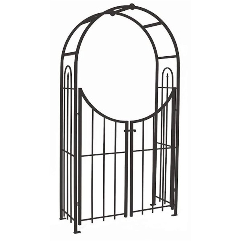 Panacea Arched Top Garden Arch with Gate Black 84342