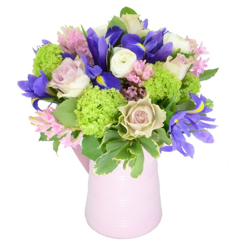 Hyacinth iris mother 39 s day flowers jug arrangement for Mothers day flower arrangements