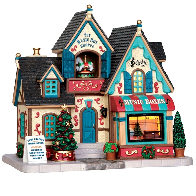Battery Powered Buildings : Lemax christmas village the music box shoppe building