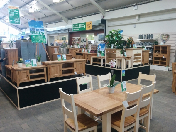 """Refresh, Renew"" display at Longacres Garden Centre, Bagshot"