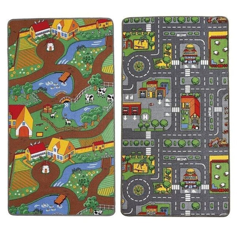 City Plan And Farm Life Dual Children S Play Mat 100 X 165cm