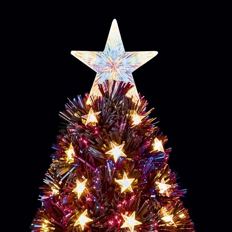 Led Fiber Optic Christmas Trees.Premier 80cm Slim Black Multi Colour Fibre Optic Artificial Christmas Tree With White Led Stars Ft178505