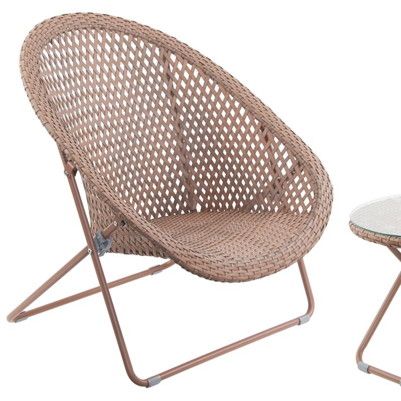 Tobs Faux Rattan Folding Lounge Set Copper 24504