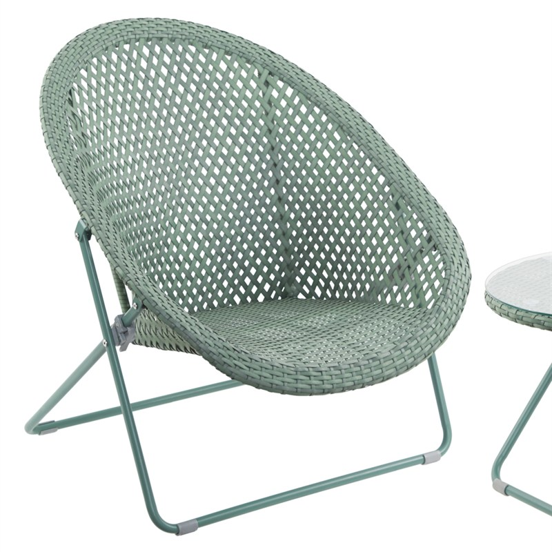 Tobs Faux Rattan Folding Lounge Set Green 24505