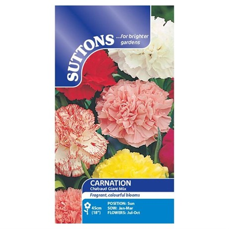 Suttons Carnation Seeds - Chabaud Giant Mix (108197)