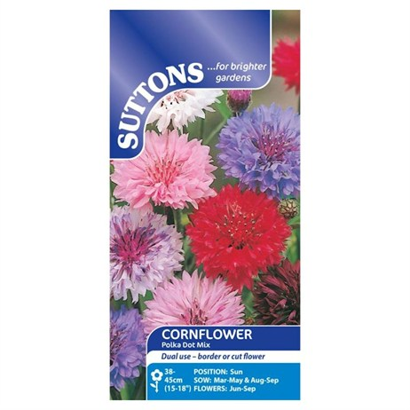 Suttons Cornflower Seeds - Polka Dot Mix (111192)