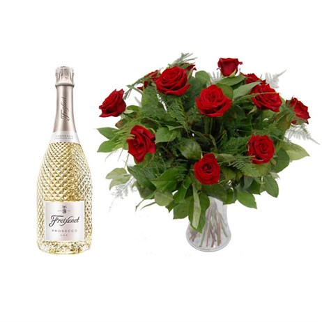 Valentine's Day Gift - 12 Long Stem Luxury Red Roses Bouquet & Prosecco Offer