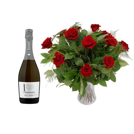 12 Long Stem Red Roses Hand Tied Valentine's Day Bouquet + Prosecco Offer