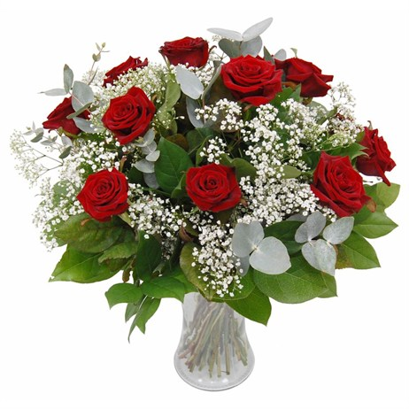 12 Long Stem Red Roses & Gypsophila Hand Tied Valentine's Day Bouquet