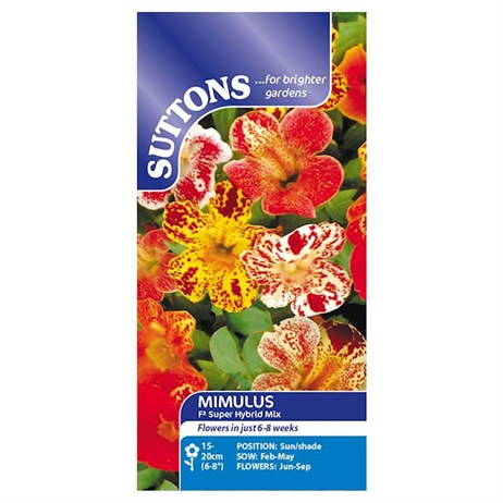Suttons Mimulus Seeds - F2 Super Hybrid Mix (123220)