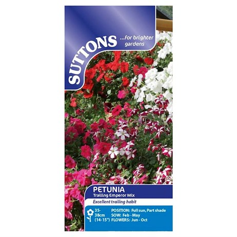 Suttons Petunia Seeds - F1 Trailing Emperor Mix (127674)