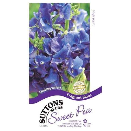 Suttons Sweet Pea Seeds - Fragrant Skies (133328)