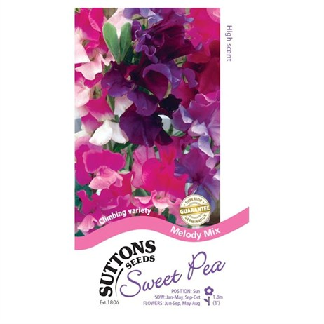 Suttons Sweet Pea Seeds - Melody Mix (133964)