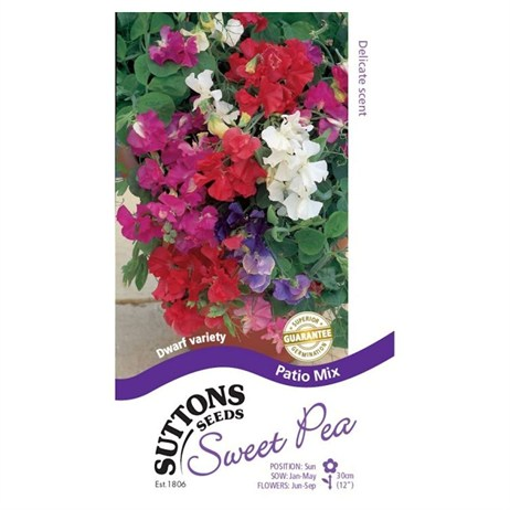 Suttons Sweet Pea Seeds - Patio Mix (134706)