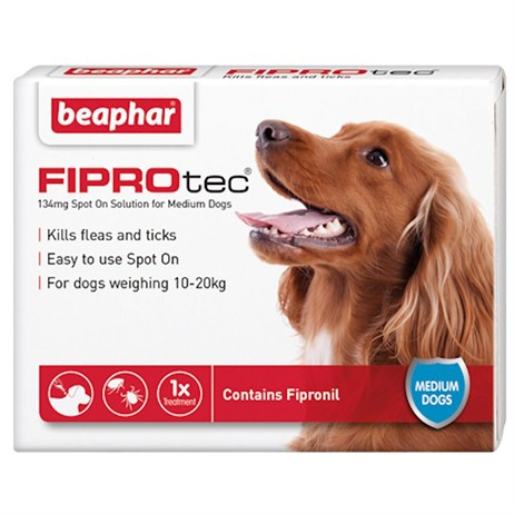 Beaphar FIPROtec® Spot-On Solution For Medium Dogs 134mg x 6 (14373)