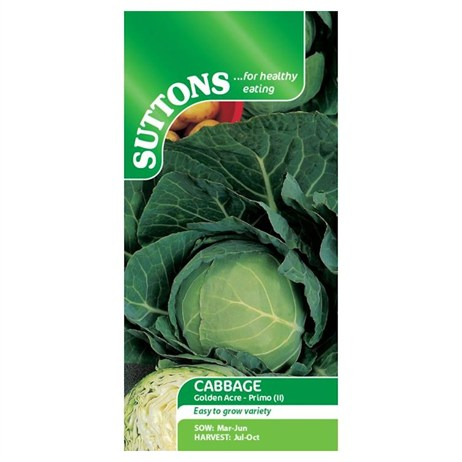 Suttons Cabbage Seeds - Golden Acre Primo (154134)