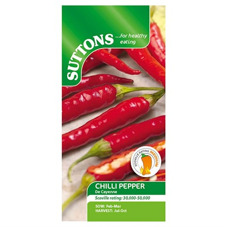 Suttons Pepper Chilli Seeds - De Cayenne (156070)