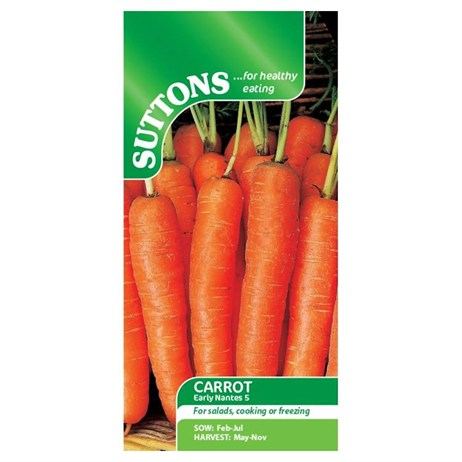 Suttons Carrot Seeds - Early Nantes 5 (157491)