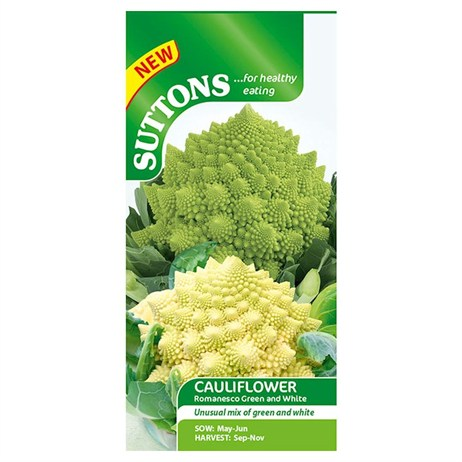 Suttons Cauliflower Seeds - Romanesco White and Green (158235)