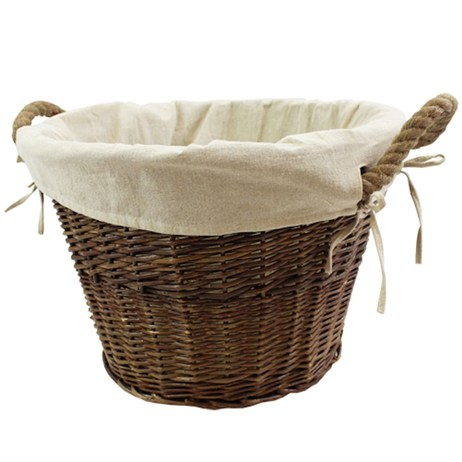 JVL Medium Log Basket with Lining and Rope Handle (16-312)