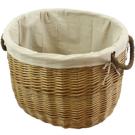JVL Oval Log Basket with Lining and Rope Handle (16-313)
