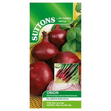 Suttons Onion (Salad) Seeds - North Holland Blood Red - Redmate (172572)
