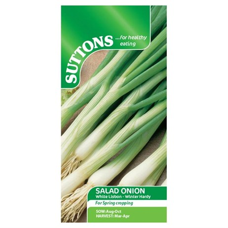 Suttons Onion (Salad) Seeds - White Lisbon - Winter Hardy (173497)