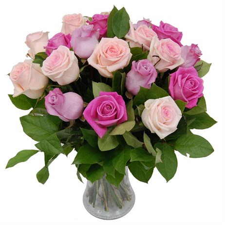 Two Dozen Mixed Pink Roses Hand Tied Valentine's Day Bouquet