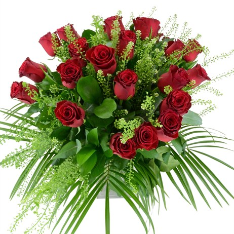 24 Long Stem Red Roses Hand Tied Valentine's Day Bouquet